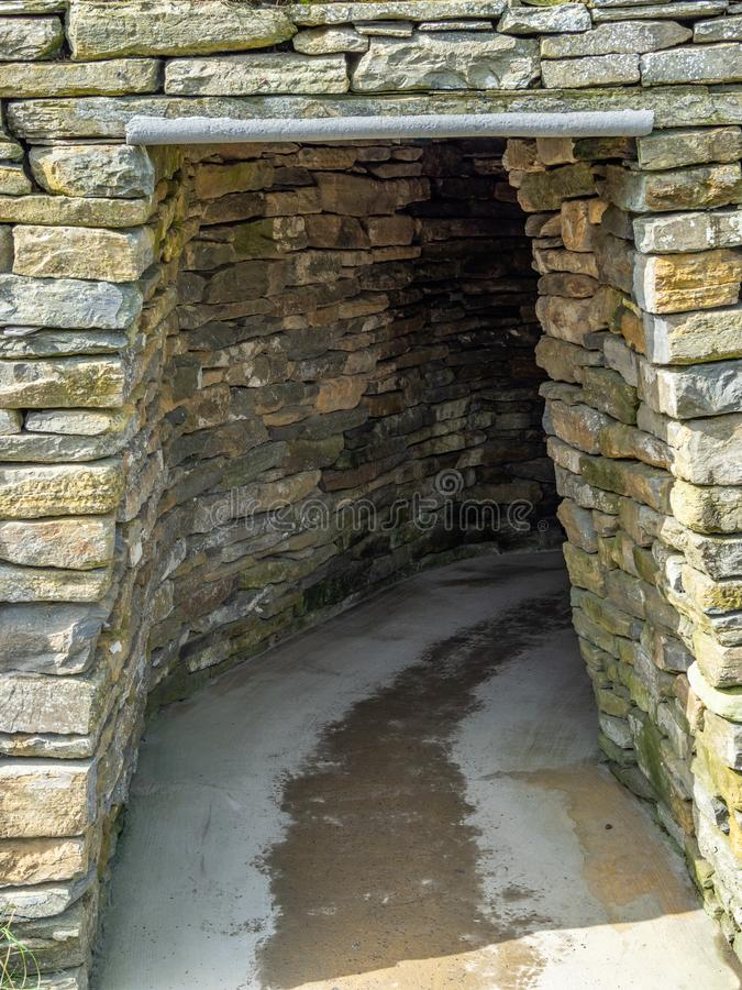 Skara Brae, Scottish Pompeii. Orkney, Scotland. Sara Brae, Scottish Pompeii, stone-built Neolithic settlement on the Bay of Skaill. Eight clustered houses stock images