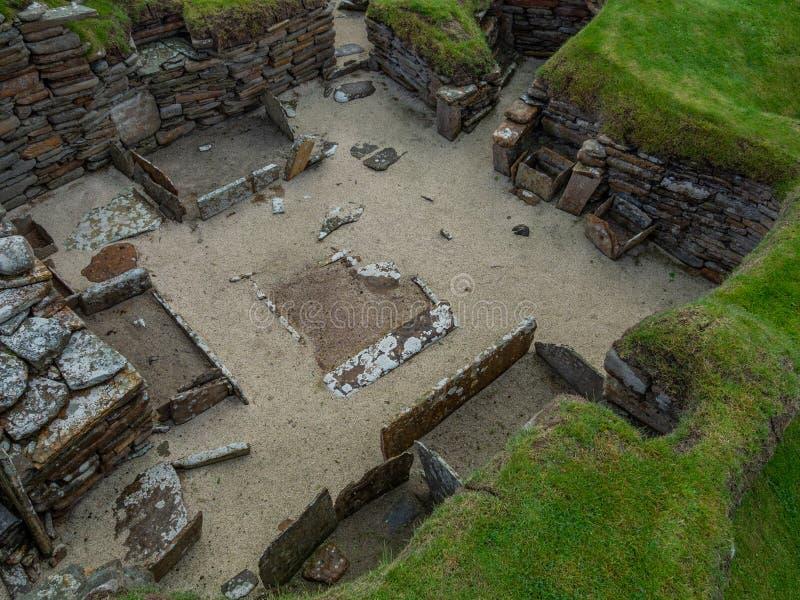 Skara Brae, Scottish Pompeii. Orkney, Scotland. Sara Brae, Scottish Pompeii, stone-built Neolithic settlement on the Bay of Skaill. Eight clustered houses stock photo