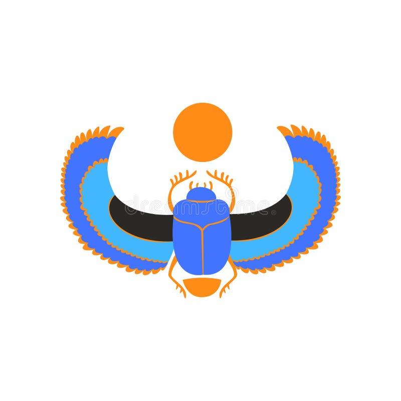 Skarabeusz ściga z błękitów skrzydłami i pomarańczowym słońcem Symbol antyczna Egipska kultura i mitologia Wektorowa ikona święty royalty ilustracja