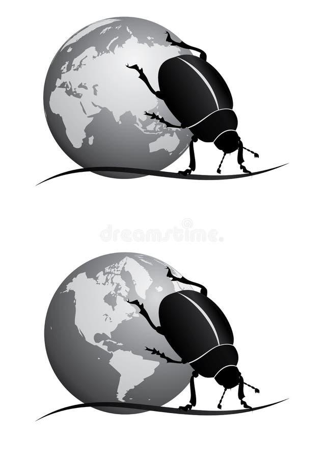 Skarabeusz BW i kula ziemska ilustracji