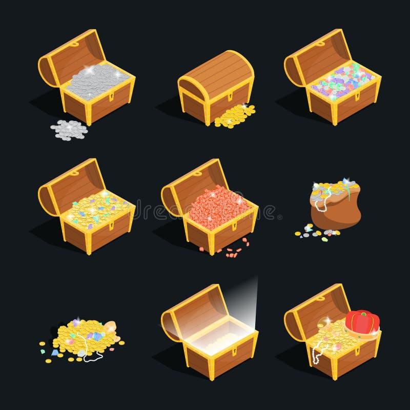 Skarbów znaków 3d ikony Ustalony Isometric widok wektor ilustracji