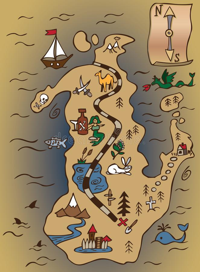 Skarb ślimacznica i mapa royalty ilustracja