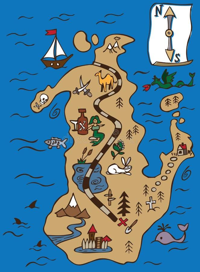 Skarb ślimacznica i mapa ilustracji