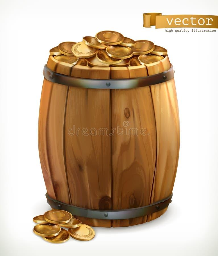 Skarb Drewniana baryłka z złocistymi monetami 3d wektor ilustracji