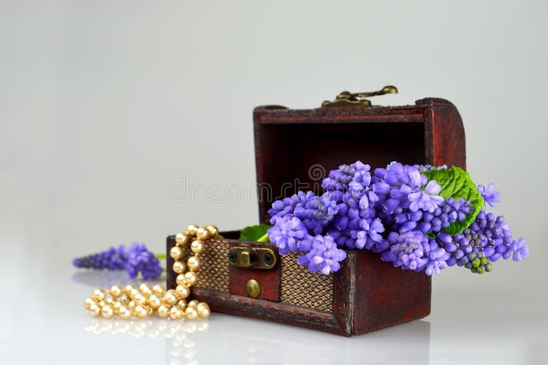 Skarb klatka piersiowa, perły i wiosna kwiaty, zdjęcie royalty free