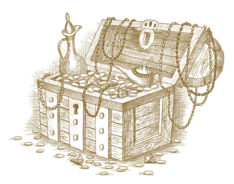 Skarb klatka piersiowa rysująca ręką ilustracji
