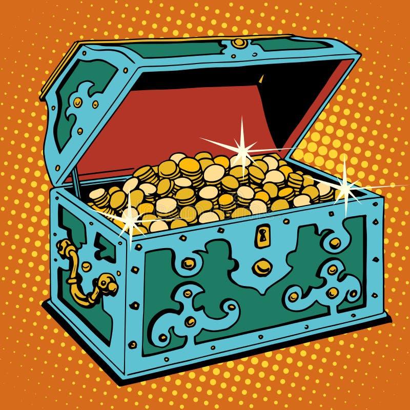 Skarb klatka piersiowa z Złotymi monetami ilustracja wektor