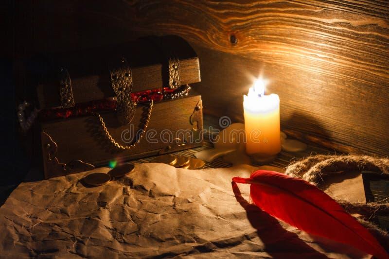 Skarb klatki piersiowej końcówka stara opróżnia papier na drewnianym stole obraz royalty free