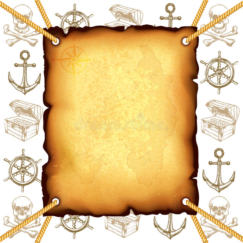 Skarb mapa i piratów symboli/lów wektoru tło ilustracja wektor