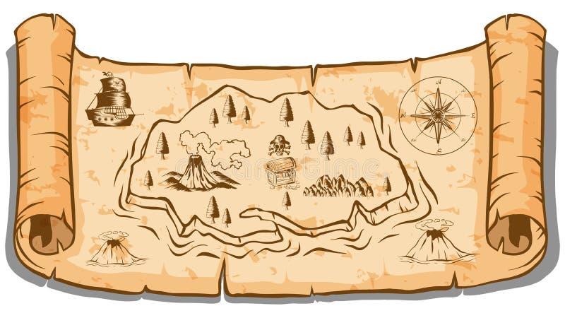 Skarb mapa na rolka papierze ilustracja wektor