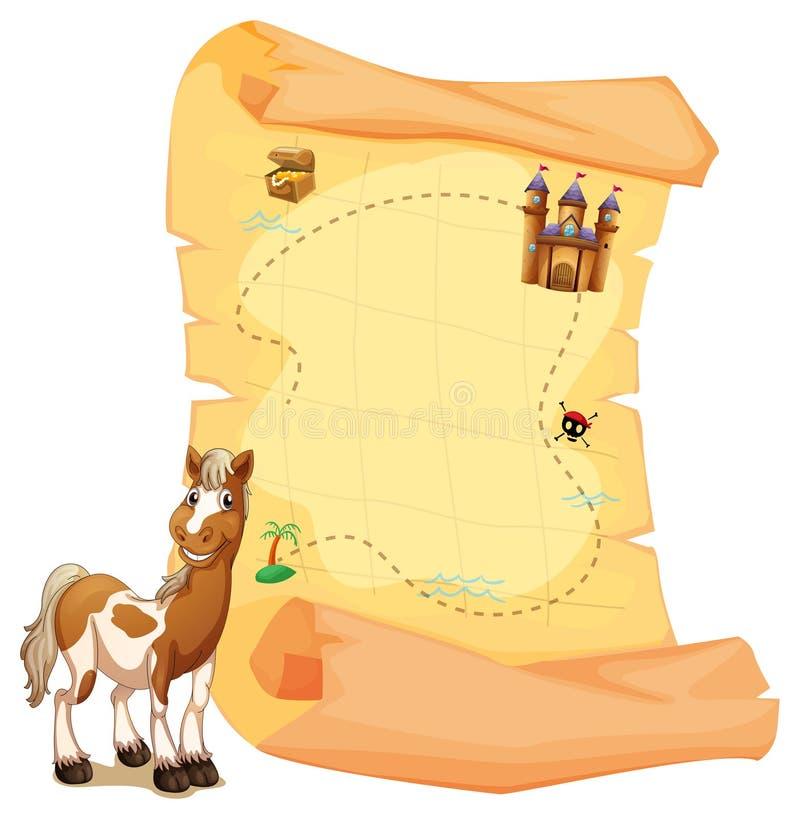 Skarb mapa obok uśmiechniętego konia ilustracji