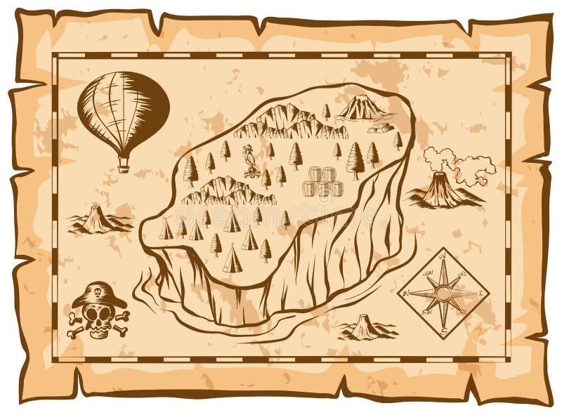 Skarb mapa z wyspą i balonem ilustracja wektor