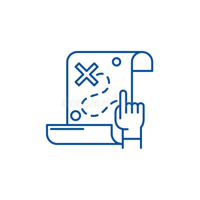 Skarb mapy linii ikony pojęcie Pielęgnuje mapa płaskiego wektorowego symbol, podpisuje, zarysowywa, ilustrację ilustracja wektor