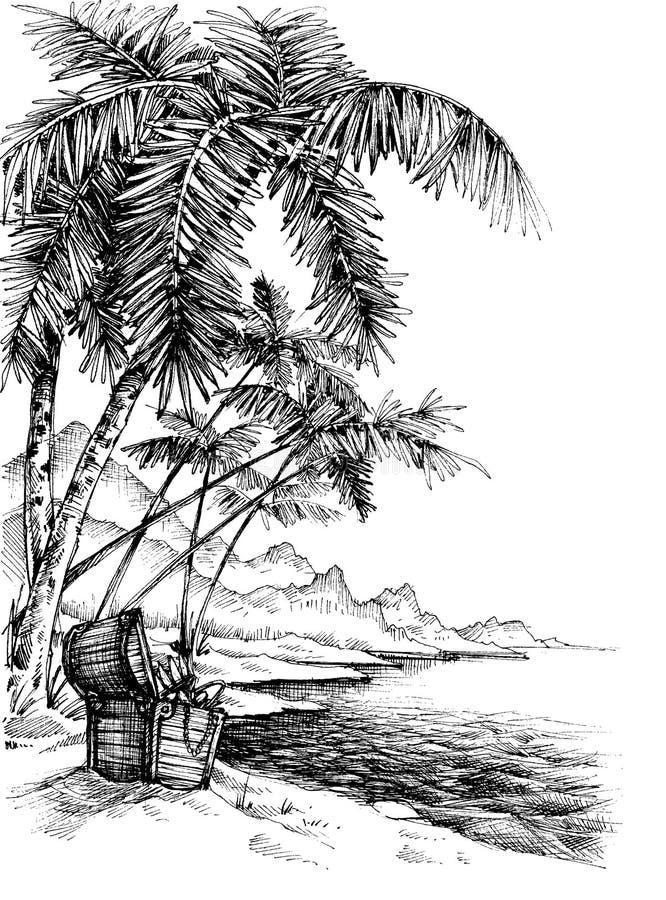 Skarb wyspy nakreślenie ilustracja wektor