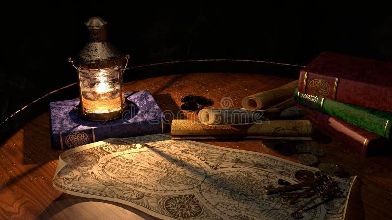 Skarbu mapa, lampion & książki, fotografia stock