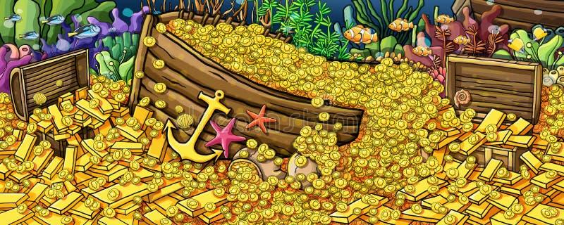 Skarbu złoto i zwierzę podwodna farba ilustracja wektor