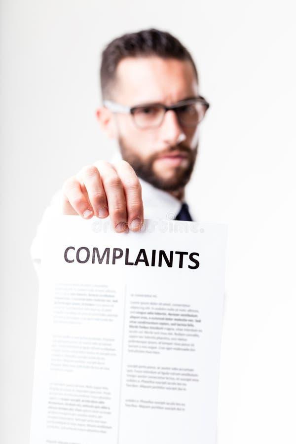 Skargi pokazywać disapponted klientem obrazy stock