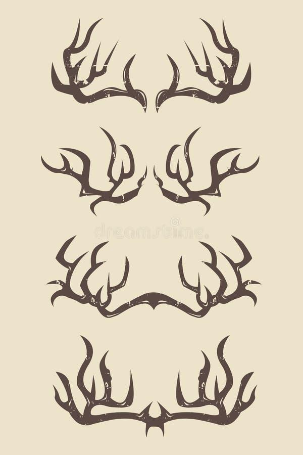 Skarp hjorthorn på kronhjortillustration vektor illustrationer