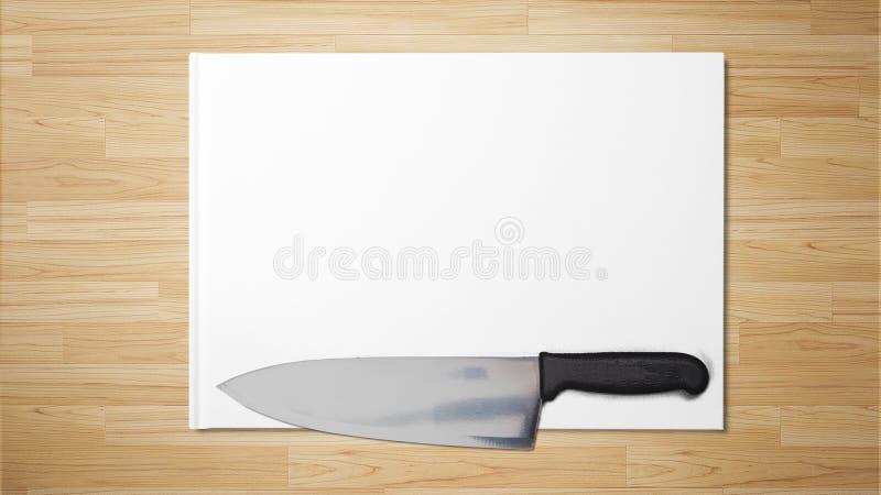 Skarp kniv på vitbok på träbakgrundsmaterielfotografiet arkivbilder