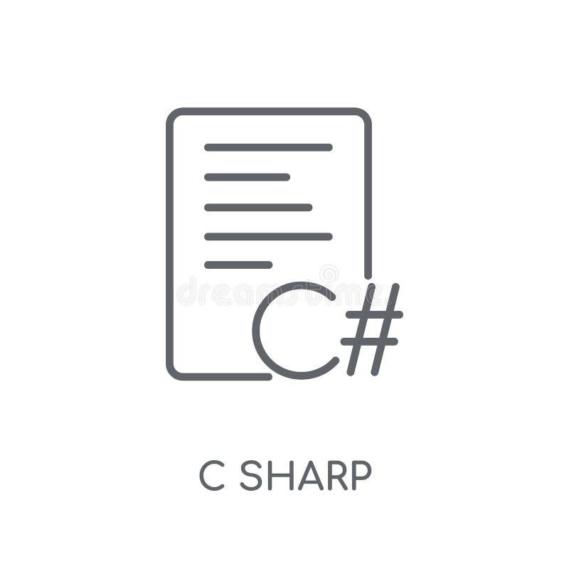 Skarp linjär symbol för C Modernt skarpt logobegrepp för översikt C på whit vektor illustrationer