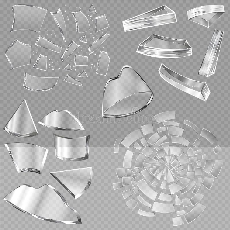 Skarpa stycken för bruten glass vektor av fönster och realistiskt splittrat förödande skräp för glasföremål eller av avbrott av s stock illustrationer