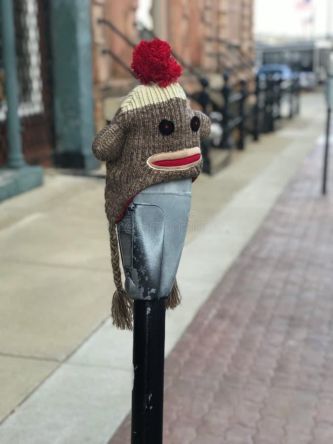 Skarpeta Małpi kapelusz Na parking metrze obrazy stock