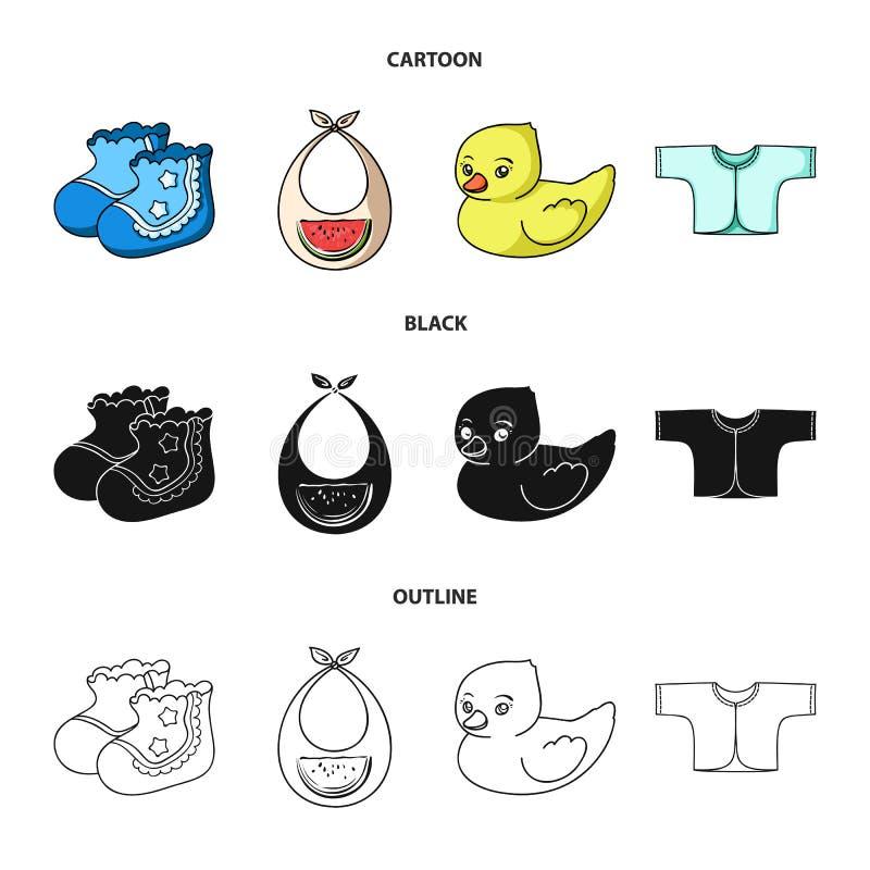 Skarpety, śliniaczek, zabawkarska kaczka, raspashonka Dziecko urodzone ustalone inkasowe ikony w kreskówce, czerń, konturu symbol royalty ilustracja