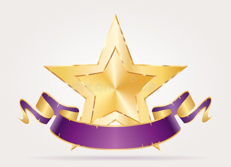 Skarpt purpurfärgat baner för guld- stjärna stock illustrationer