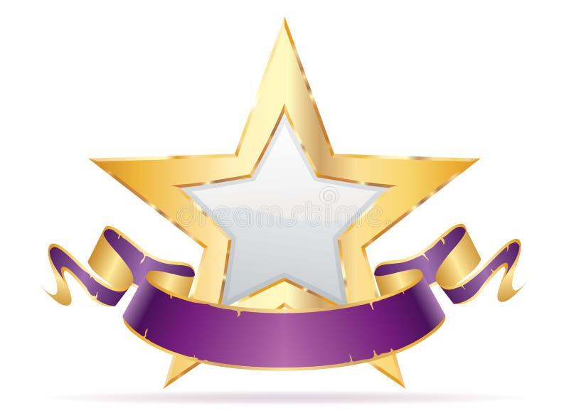 Skarpt purpurfärgat baner för vit stjärna royaltyfri illustrationer