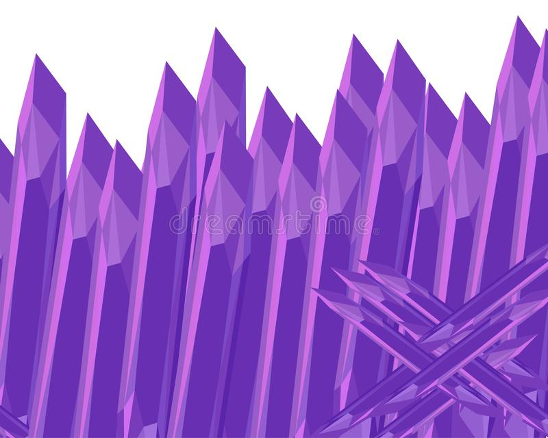Skarpt staket för sten Purpurfärgad ametist abstrakt bakgrund stock illustrationer