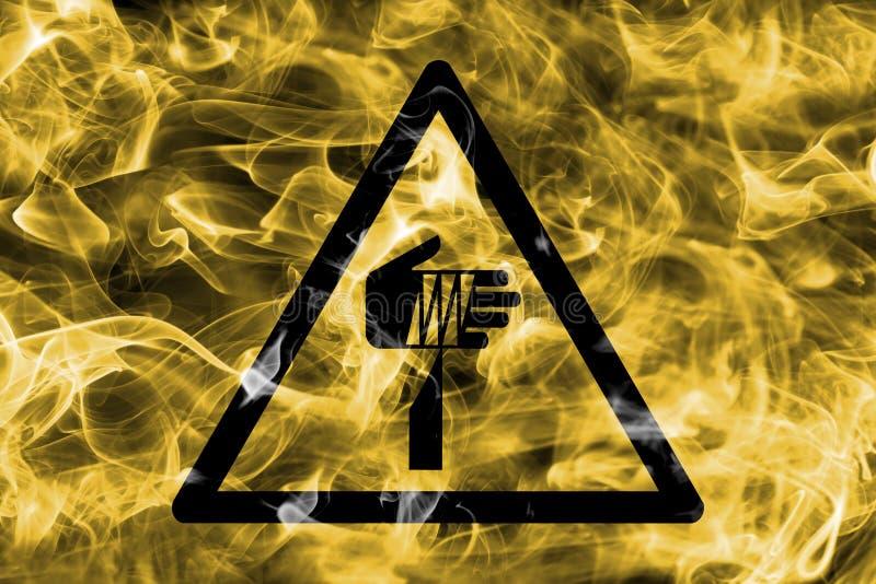 Skarpt tecken för rök för objektfaravarning Triangulär varning haza stock illustrationer