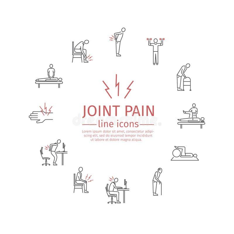 skarven smärtar Linje symbolsuppsättning vektor royaltyfri illustrationer