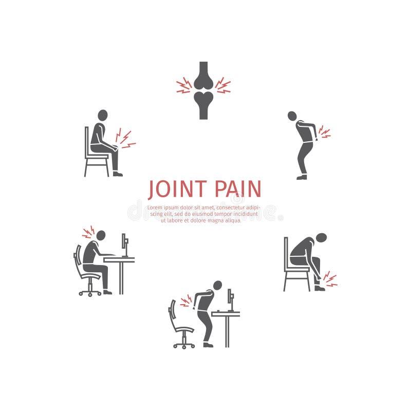 skarven smärtar Plan symbolsuppsättning vektor stock illustrationer