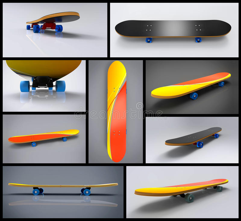 Skate Board. Skateboards in different angles and views.This is created in 3D and is good for any company dealing in skateboards or sports stuff. Evenly marked royalty free illustration