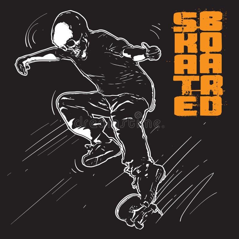 Skate Boarder Skull sketch Illustration royalty free illustration