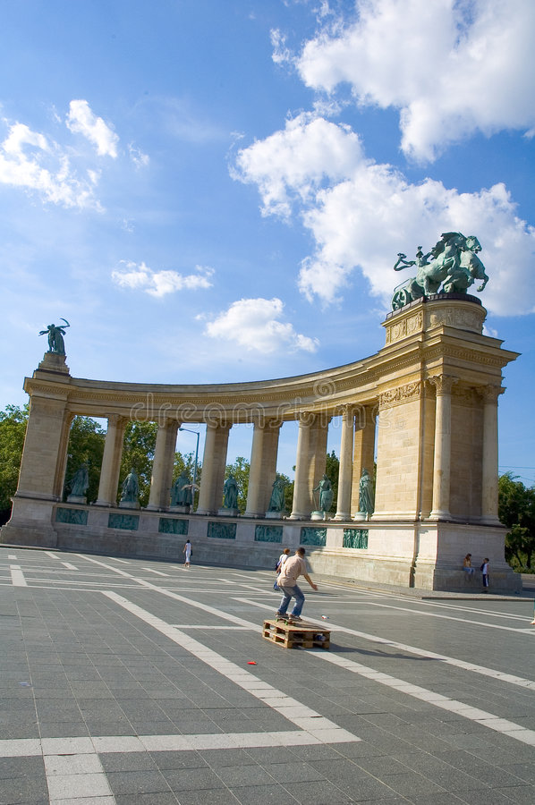 Download Skate Boarding In Hero Square, Budapest Stock Image - Image: 256123
