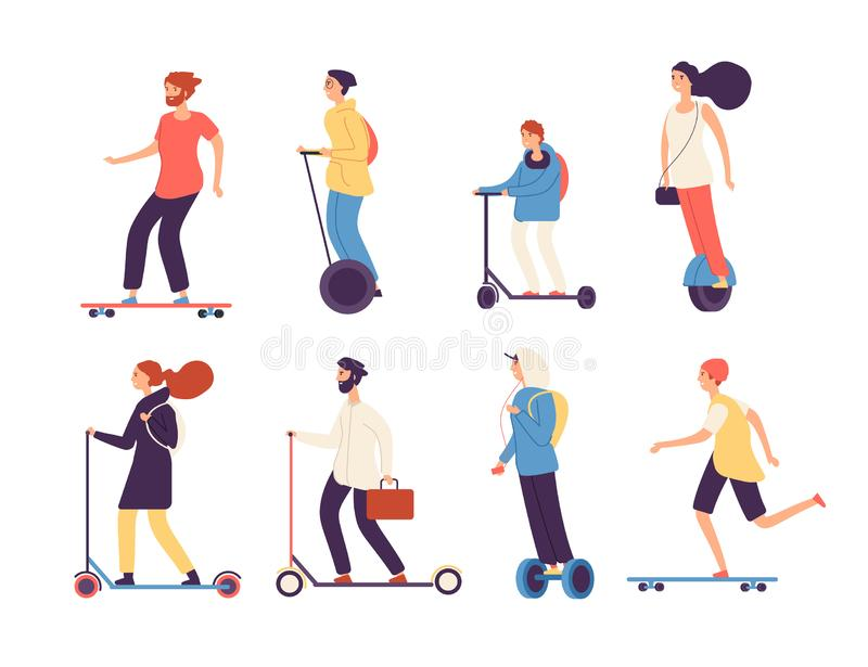 Skate de montada dos povos A mulher do homem com veículos elétricos monta o vetor isolado patim do 'trotinette' do longboard do s ilustração royalty free