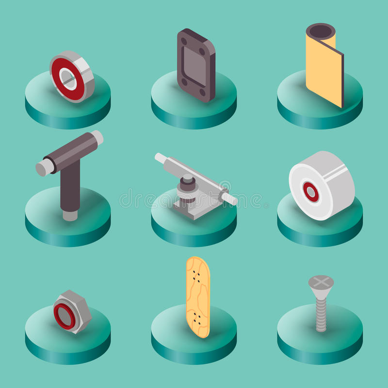 Skate flat isometric icons. Skating and skateboarding tools for repairing service stock illustration