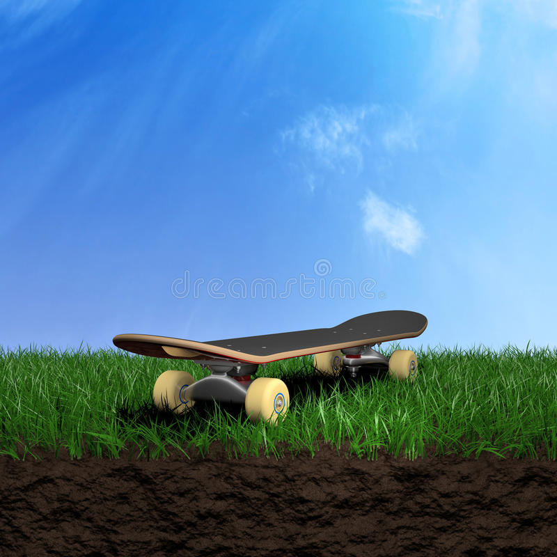 Skate on grass. Skate over a grass field 3d illustration royalty free illustration