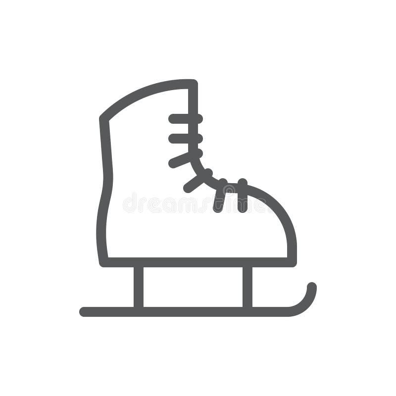 Skate line icon with editable stroke vector illustration - outline symbol of winter sport equipment. Skate line icon with editable stroke vector illustration vector illustration