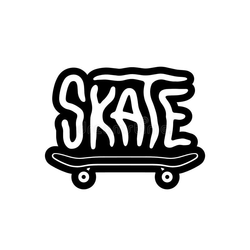 SKATE LOGO SKATEBOARD WHITE. BACKGROUND stock illustration