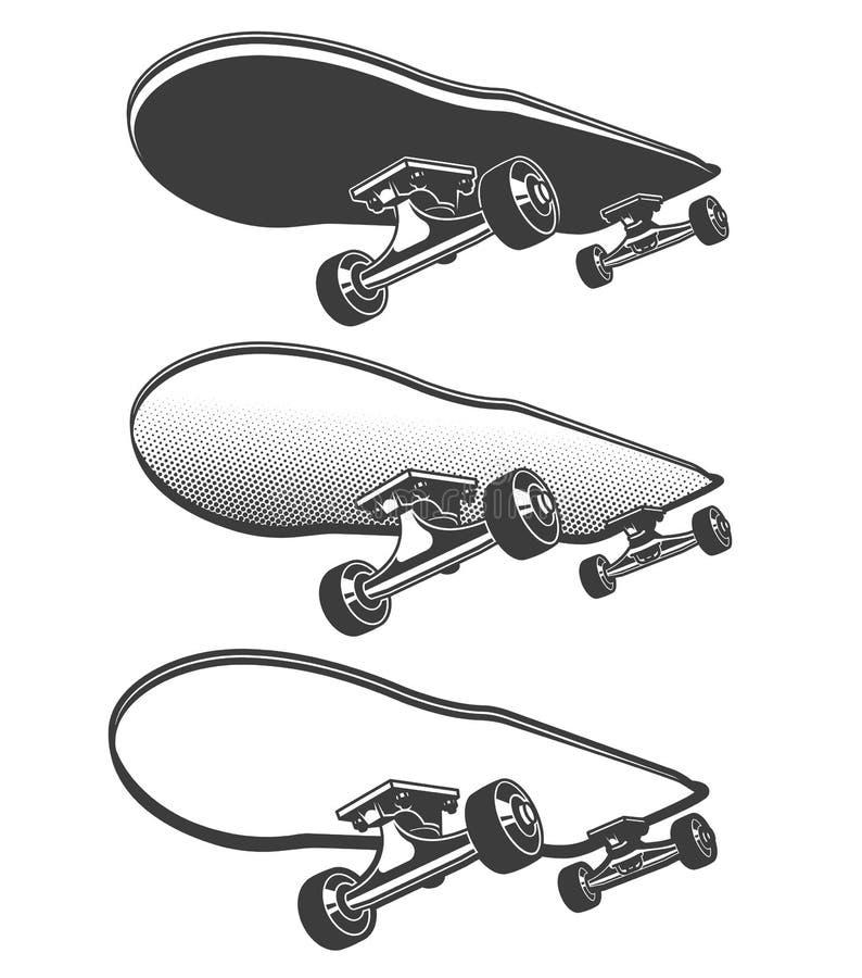 Skate na ilustração retro do movimento ilustração stock