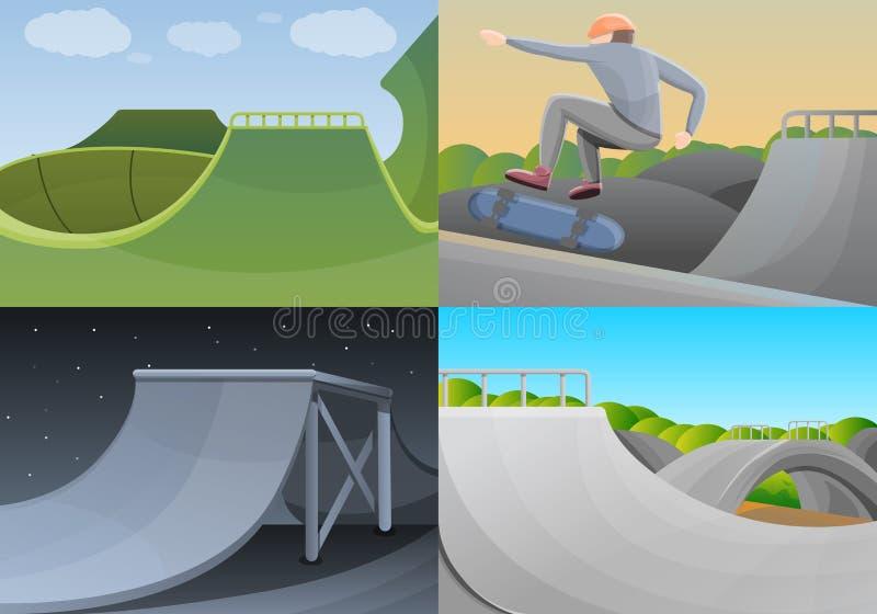 Skate park banner set, cartoon style vector illustration