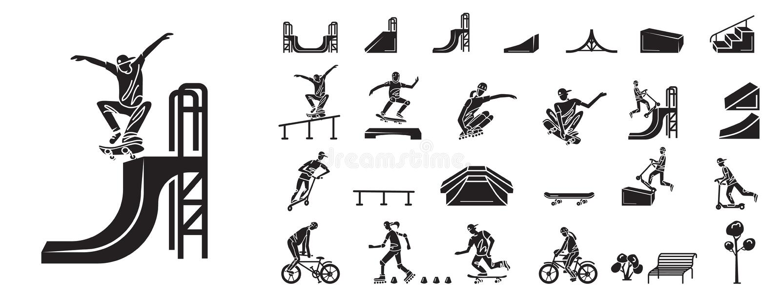 Skate park icons set, simple style stock illustration