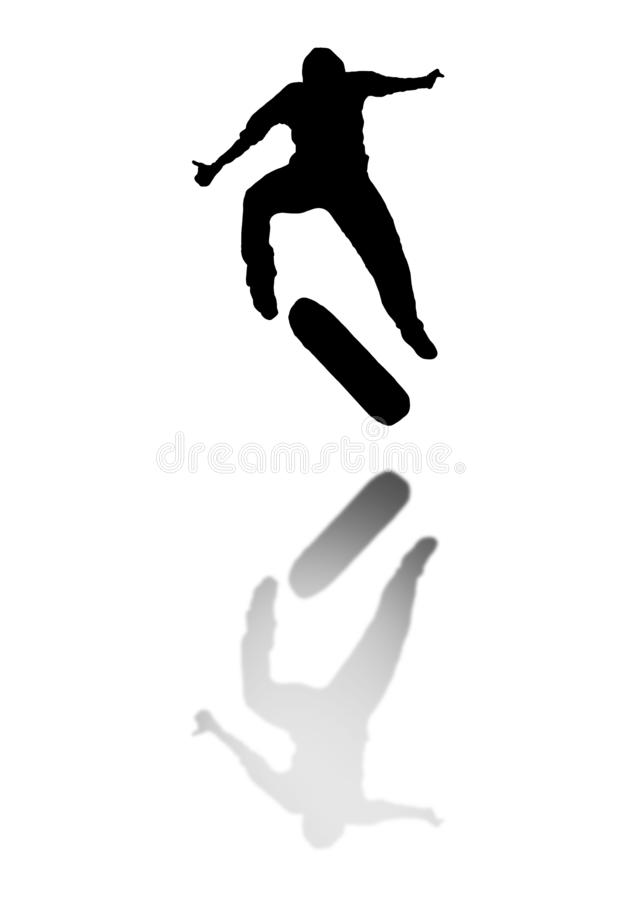 Skate silhouette. Jumping skater shadow. Skate silhouette. Jumping skater black shadow isolated stock photography
