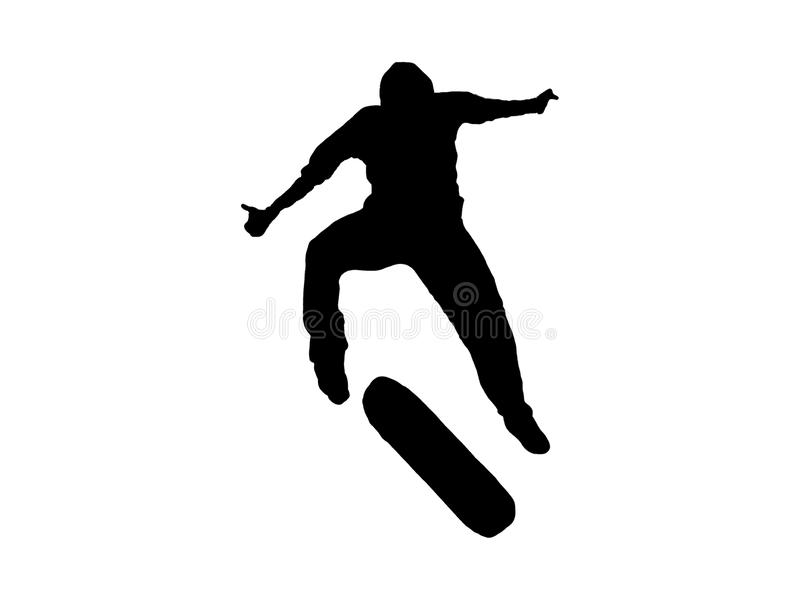 Skate silhouette. Jumping skater shadow. Skate silhouette. Jumping skater black shadow isolated royalty free stock photography