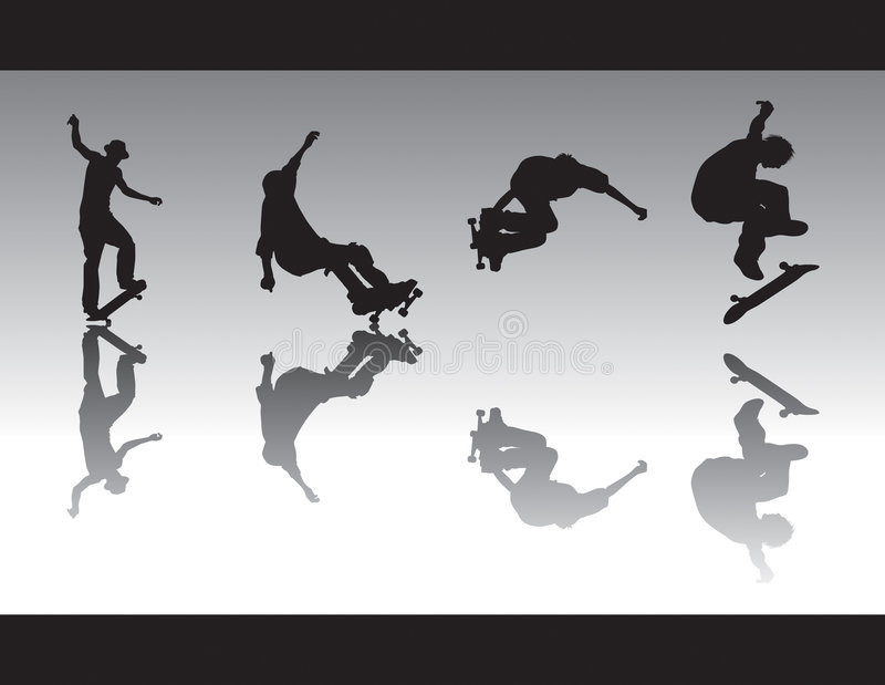 Skate Silhouettes III. Skater silhouettes performing various tricks. One is nosegrinding, 5-0 grinding, grab and one is kickflipping vector illustration
