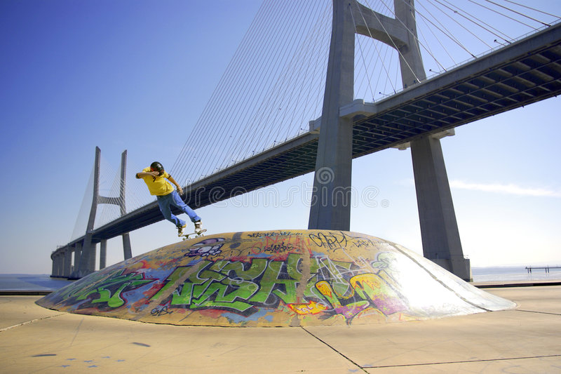 Download Skate Under Bridge stock photo. Image of action, grunge - 3542650