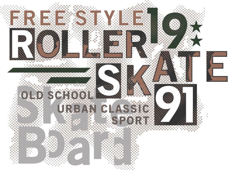 Skateboard σχέδιο κειμένων διανυσματική απεικόνιση