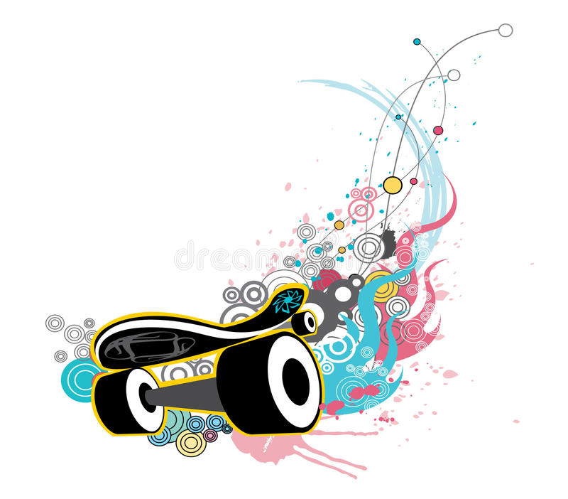 Download Skateboard stock vector. Illustration of grunge, splatters - 10740983